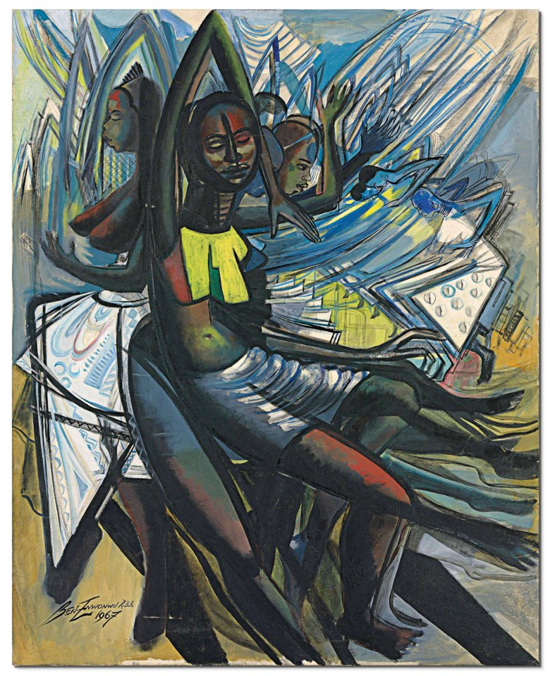 Ben Enwonwu (1921-1994), Untitled, 1967. 50 x 40 in (127 x 101.5 cm). Oil on canvas. Sold for £320,750 on 28 June 2018 at Christie's in London. Artwork Courtesy of The Ben Enwonwu Foundation