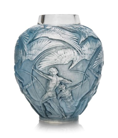 An Archers vase, No. 893, designed 1921. 10½  in (26.8  cm) high. Sold for £5,250 in Lalique on 15 May at Christie's in London