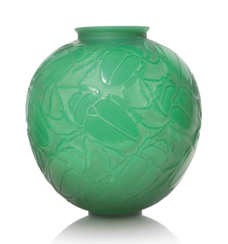 A Gros Scarabées vase, No. 892, designed 1923. 11½  in (29  cm) high. Sold for £32,500 in Lalique on 15 May at Christie's in London