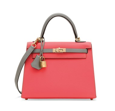 A custom rose azalée & gris mouette epsom leather sellier Kelly 25 with permabrass hardware, Hermès, 2017. 25 w x 18 h x 9 d cm. Estimate £8,000-10,000. Offered in Handbags & Accessories on 12 June at Christie's in London The newly popular gris mouette tones down the floral rose azalée of this glorious springtime Kelly.       .captiondesc { font-family