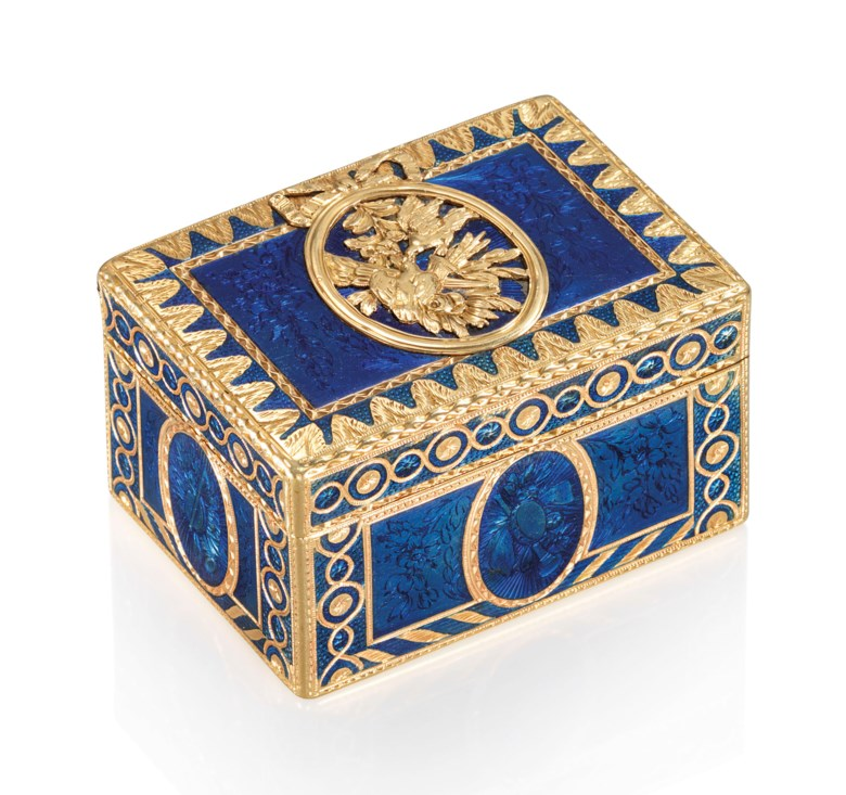A Louis XV enamelled gold snuff-box, by Charles-Barnabé Sageret (1752-1792), Paris, 17641765. 1⅞  in (50  mm) wide. Sold for £37,500 on 5 December 2018 at Christie's in London