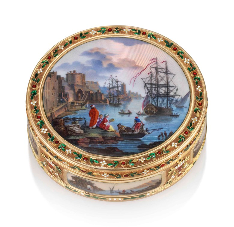A German enamelled gold bonbonnière, circa 1790. Diameter 3  in (77  mm). Estimate £30,000-50,000. Offered in Gold Boxes on 4 July 2018 at Christie's in London