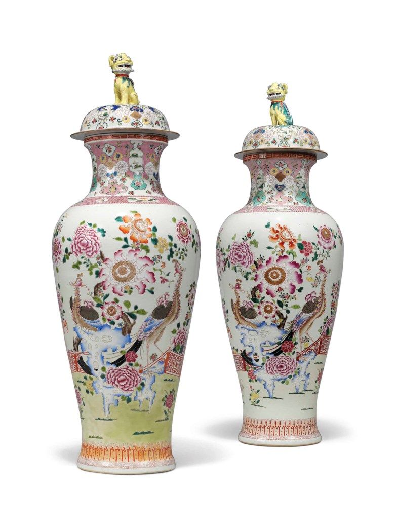 A pair of Chinese Export famille rose 'soldier' vases and covers, 20th century. 45½  in (115.6  cm) high. Estimate £3,000-5,000. This lot is offered in Kenneth Neame Including Arts of India, English and European Furniture and Works of Art, European and Chinese Ceramics, Chinese and Old Master Paintings on 13 June at Christie's in London