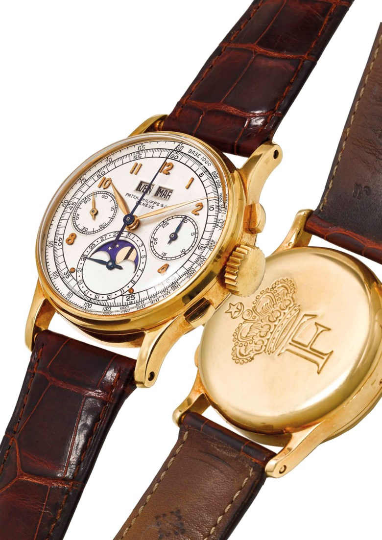 Patek Philippe. An extremely fine, rare and historically important 18k gold perpetual chronograph wristwatch with moon phases, 1944. Sold for $912,500 on 23 March 2018 at Christie's in Dubai