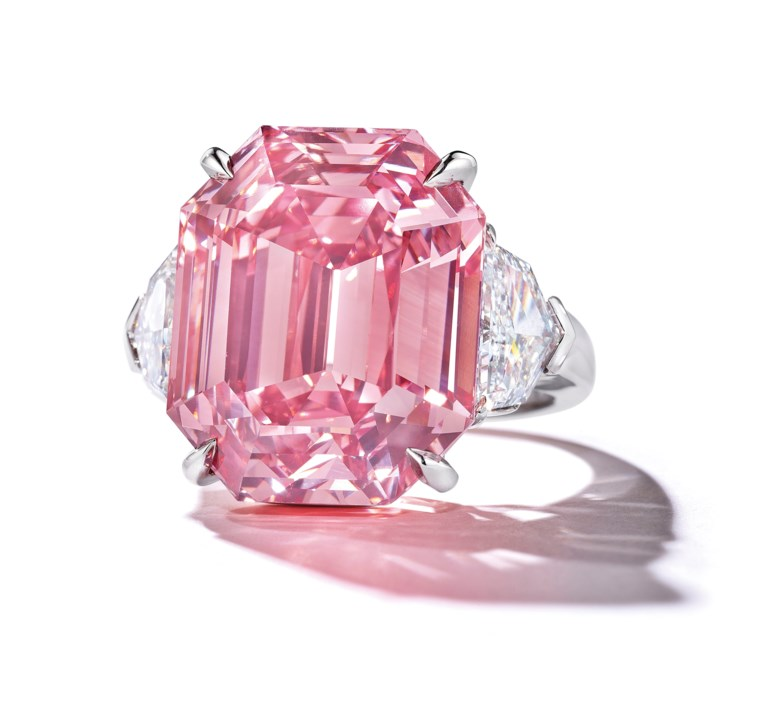 The Pink Legacy — a sensational coloured diamond ring 18.96 carats, Fancy Vivid Pink colour. Sold for CHF50,375,000 on 13 November 2018 at Christie's in Geneva