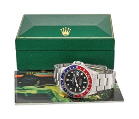 ROLEX. A FINE AND RARE STAINLESS STEEL DUAL TIME AUTOMATIC W
