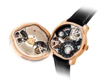 GREUBEL FORSEY. A VERY FINE, EXTREMELY RARE AND IMPRESSIVE 18K PINK GOLD LIMITED EDITION ASYMMETRICAL WRISTWATCH WITH DIFFERENTIAL QUADRUPLE TOURBILLON AND POWER RESERVE