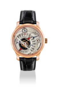 GREUBEL FORSEY. A VERY FINE, EXTREMELY RARE AND ATTRACTIVE 18K PINK GOLD LIMITED EDITION 30° DOUBLE TOURBILLON WRISTWATCH WITH POWER RESERVE