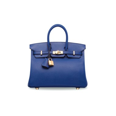 A bleu électrique epsom leather Birkin 25 with gold hardware, Hermès, 2016. 25 w x 20 h x 13 d cm. Estimate HK$60,000-80,000. Offered in Handbags & Accessories  on 30 May at Christie's in Hong Kong A mini with rich tones that contrast with luminous hardware — sure to stun in any setting, formal or otherwise.       .captiondesc { font-family LyonRegular, Arial,