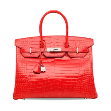 An exceptional, shiny géranium porosus crocodile diamond Birkin 35 with 18k white gold & diamond hardware, Hermès, 2014. 35 w x 25 h x 18 d cm. Estimate HK$800,000-1,000,000. Offered in Handbags & Accessories  on 30 May at Christie's in Hong Kong One of the most exclusive bags you'll ever lay eyes on, this Birkin elevates its regal construction with diamonds.