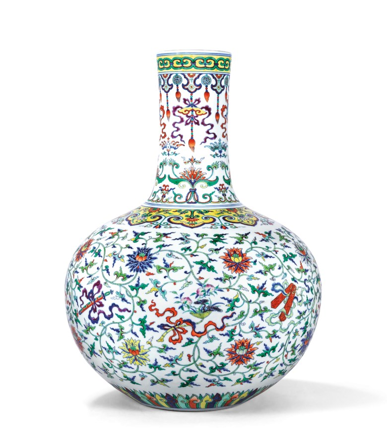 A fine magnificent and extremely rare doucai and famille rose 'Anbaxian' vase, tianqiuping, Qianlong six-character seal mark in underglaze blue and of the period (1736-1795). Sold for HK$130,600,000 on 30 May 2018 at Christie's in Hong Kong