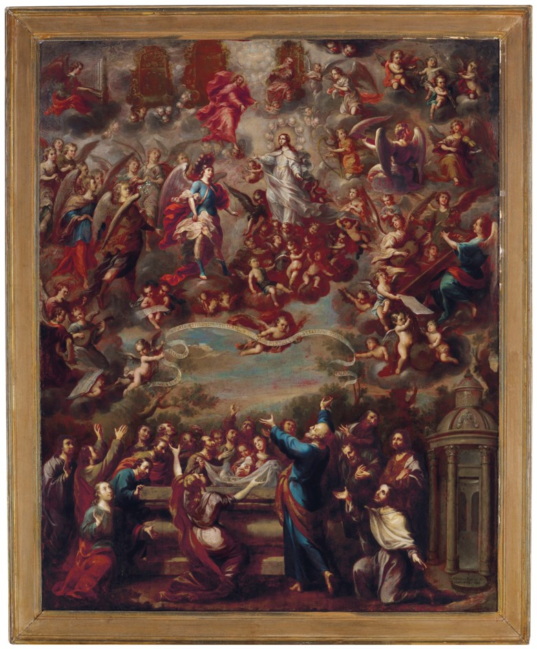Nicolás Enríquez (1704-c.1790), The Assumption of the Virgin, painted in 1744. 105 x 84  cm. Sold for $552,500 on 20-21 November 2018 at Christie's in New York