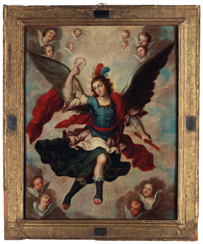 Fray Miguel Herrera (1700-1789), Archangel Michael, painted in 1751. Oil on canvas laid on wood board. 32 x 24⅝  in (81.3 x 62.6  cm). Sold for $52,500 on 20-21 November 2018 at Christie's in New York