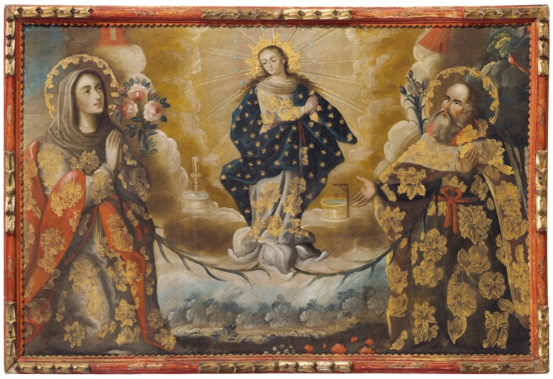 Anonymous, Peruvian School, 18th Century, The Virgin Mary as the Immaculate Conception with Her Parents St. Joachim and St. Anne. Oil and gold leaf on canvas. 39 x 60  in (99 x 152.4  cm). Sold for $62,500 on 20-21 November 2018 at Christie's in New York