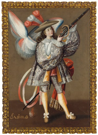 Anonymous (Peruvian, 18th century), Archangel Asiel. Oil on canvas. 44½ x 31½  in (113 x 80  cm). Sold for $93,750 on 20-21 November 2018 at Christie's in New York