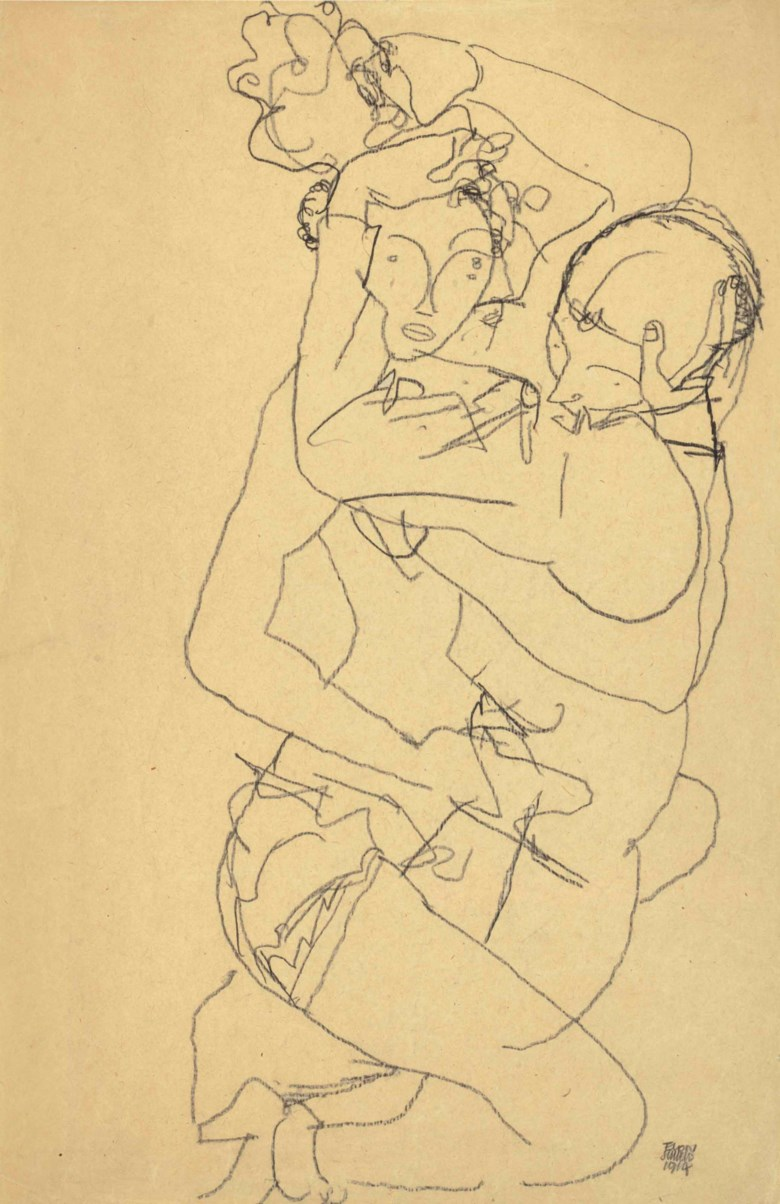 Egon Schiele (1890-1918), Paar im Umarmung, drawn in 1914. 19½ x 12⅞  in (49.7 x 32.6  cm). Sold for $312,500on 16 May at Christie's in New York