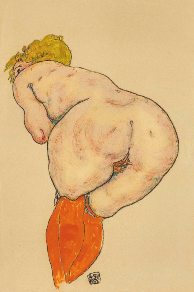 Egon Schiele (1890-1918), Rückenakt mit orangefarbenen Strümpfen, drawn in 1918. 18¼ x 11⅝  in (46.1 x 29.5  cm). Sold for $373,500on 16 May at Christie's in New York