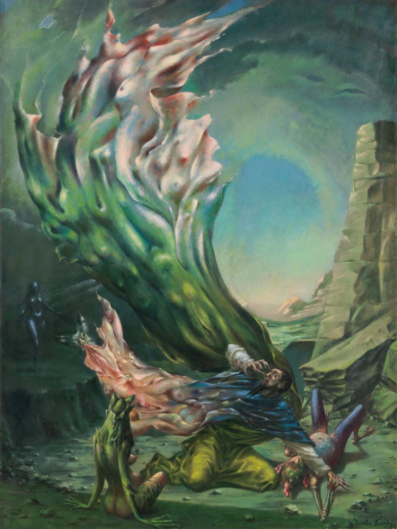 Dorothea Tanning (1910-2012), The Temptation of St. Anthony, painted in 1945-1946. 47⅞ x 35⅞  in (121.4 x 91.2  cm). Sold for $1,152,500 on 16 May 2018 at Christie's in New York