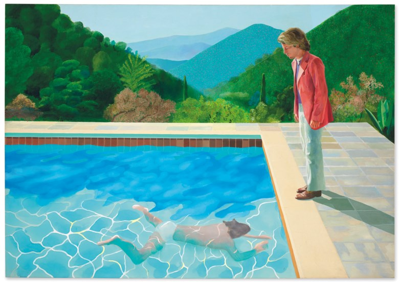David Hockney (b. 1937), Portrait of an Artist (Pool with Two Figures), painted in 1972. Acrylic on canvas. 84 x 120  in (213.5 x 305  cm). Sold for $90,312,500 on 15 November 2018 at Christie's in New York © David Hockney