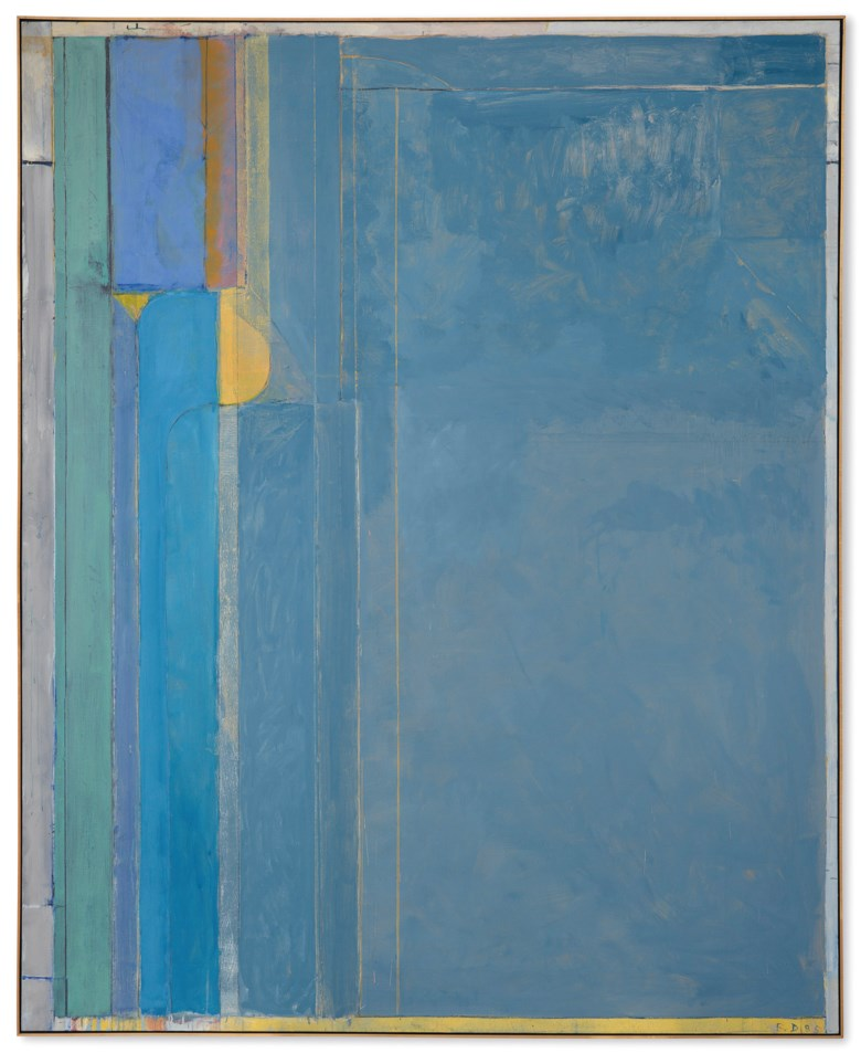 Richard Diebenkorn (1922-1993), Ocean Park #137, painted in 1985. 100 x 81  in (254 x 205.7  cm). Sold for $22,587,500 on 15 November 2018 at Christie's in New York. [Catalogue raisonné no. 4608] © Richard Diebenkorn Foundation