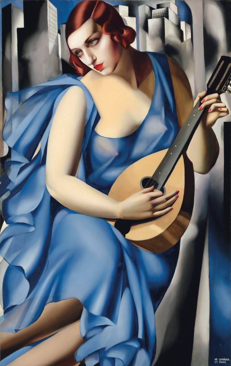 Tamara de Lempicka (1898-1980), La Musicienne, painted in Paris, 1929. Oil on canvas. 45⅝ x 28¾  in (115.8 x 73  cm). Sold for $9,087,500 on 11 November 2018 at Christie's in New York. Artwork © Tamara de Lempicka Estate, LLC  ADAGP, Paris and DACS, London 2020