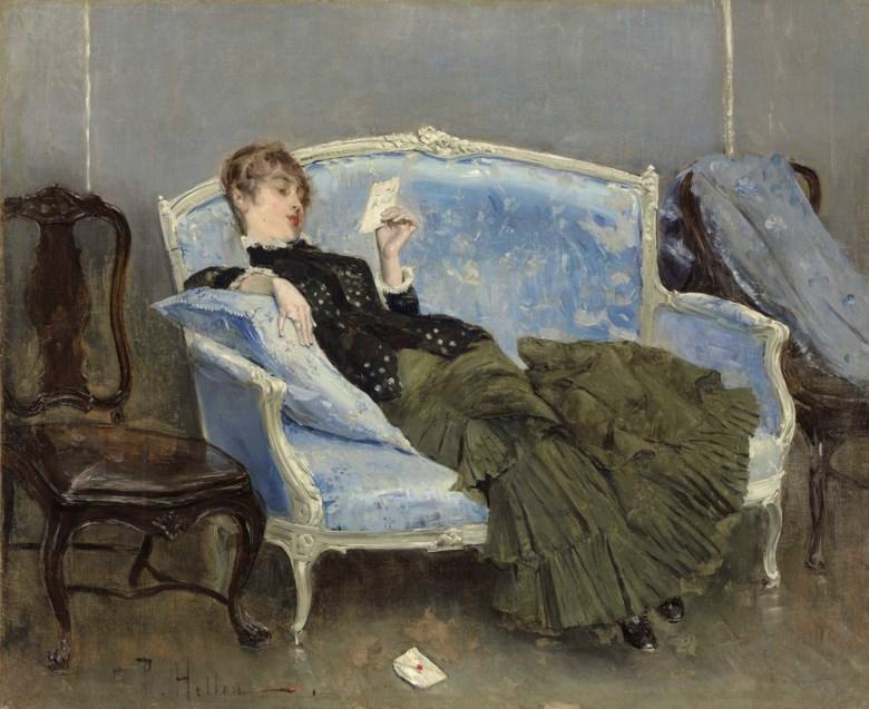 Paul-César Helleu (1859-1927), La Lettre, 1880. 23⅝ in x 29  in (60 cm x 73.7  cm). Sold for $600,500 on 18 April 2018 at Christie's in New York