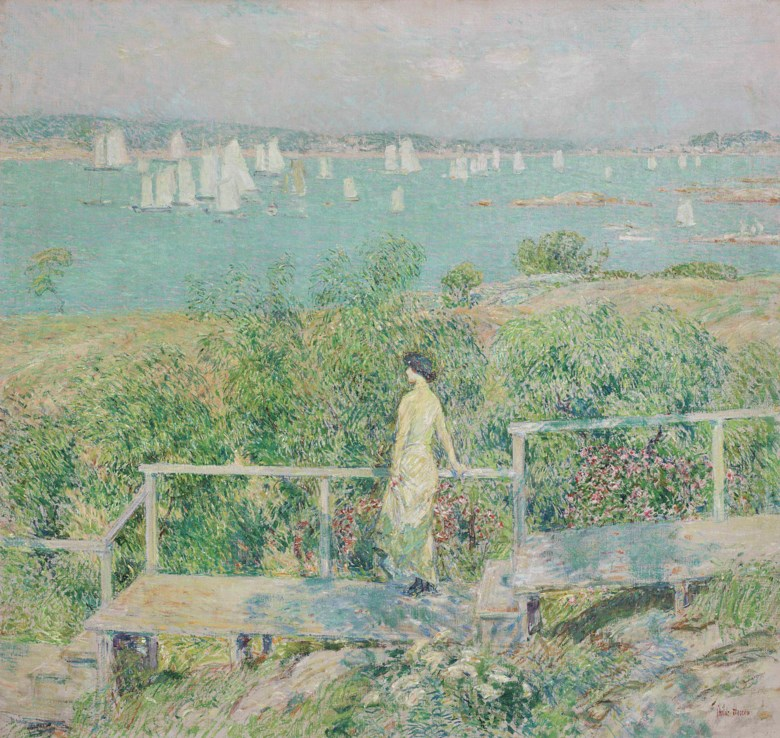 Childe Hassam (1859-1935), The Yachts, Gloucester Harbor, painted in 1899. 34⅛ x 36¼  in (86.7 x 92  cm). Offered in American Art on 22 May at Christie's in New York and sold for $1,812,500