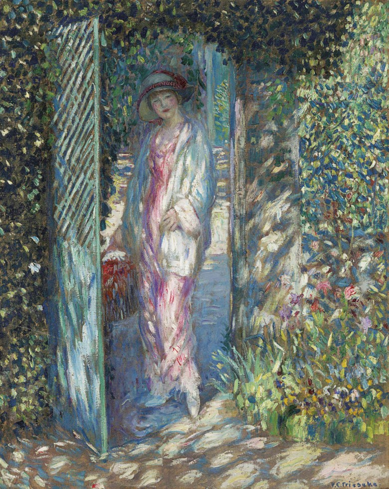 Frederick Carl Frieseke (1874-1939), The Lattice Gate, painted by 1913. 32 x 25½  in (81.3 x 64.8  cm). Offered in American Art on 22 May at Christie's in New York and sold for $492,500