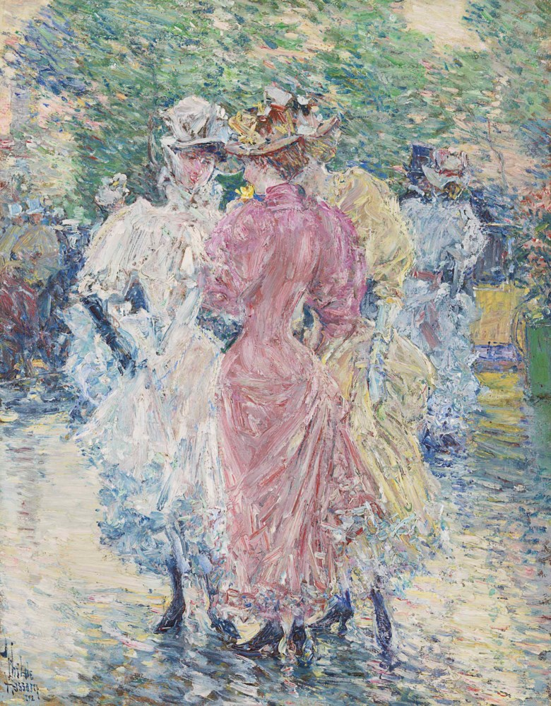 Childe Hassam (1859-1935), Conversation on the Avenue, painted in 1892. 16⅛ x 12⅝  in (41 x 32  cm). Offered in American Art on 22 May at Christie's in New York and sold for $2,412,500