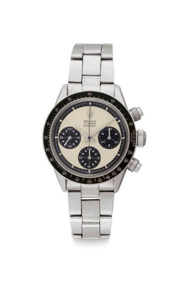 Rolex. A very rare and extremely attractive stainless steel chronograph wristwatch with Paul Newman Mark 1 panda dial and bracelet, signed Rolex, oyster cosmograph, Paul Newman model, ref. 6263, case no. 2'197'828, circa 1969. Sold for $732,500 on 13 June 2018 at Christie's in New York