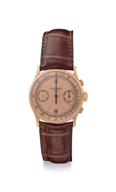 Patek Philippe. A very fine and rare 18k pink gold chronograph wristwatch with pink dial, signed Patek Philippe & Co, Genève, ref 130, movement no. 863208, case no. 632841, manufactured in 1943. Sold for $81,250 on 13 June 2018 at Christie's in New York