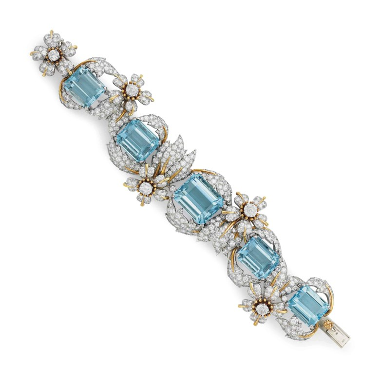 From The Collection of Peggy and David Rockefeller.An aquamarine and diamond 'Leaves and Flowers' bracelet, by Jean Schlumberger, Tiffany & Co. Sold for $250,000 on 12 June 2018 at Christie's in New York