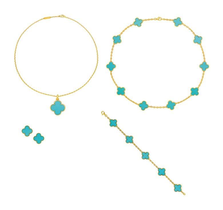 Group of turquoise 'Alhambra' jewellery, Van Cleef & Arpels. Sold for $47,500 on 5 December 2018 at Christie's in New York
