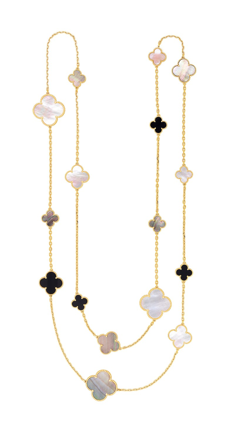 Mother-of-pearl and onyx 'Magic Alhambra' long chain necklace, Van Cleef & Arpels. Sold for $22,500on 5 December 2018 at Christie's in New York