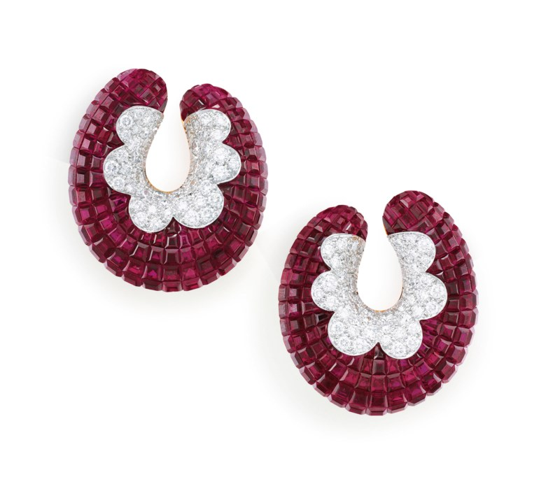 Ruby and Diamond Mystery-Set Earrings, Van Cleef & Arpels. Sold for $193,750on 5 December 2018 at Christie's in New York