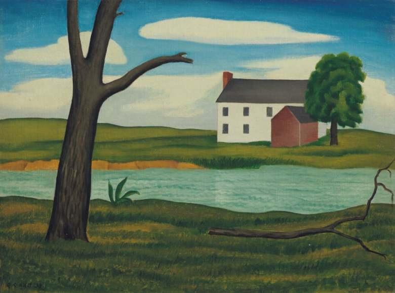 George Copeland Ault (1891-1948), New England Landscape, painted in 1933. 11⅞ x 15⅞ (30.2 x 40.3  cm). Sold for $75,000 on 20 November 2018 at Christie's in New York. Rights and Reproductions Michael Rosenfeld Gallery (info@michaelrosenfeldart.com)