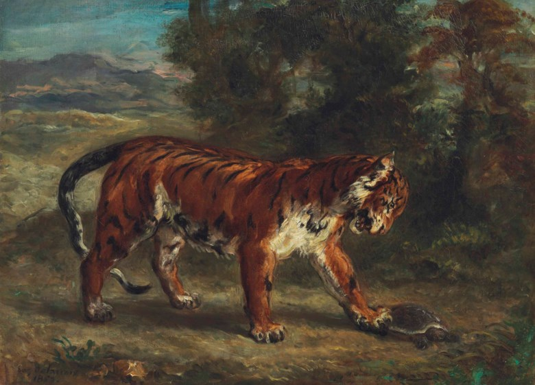 Eugène Delacroix (1798-1863), Tigre jouant avec une tortue, painted in 1862. 17¾ x 24½  in (45.1 x 62.2  cm). Sold for $9,875,000 in The Collection of Peggy and David Rockefeller 19th and 20th Century Art, Evening Sale on 8 May at Christie's in New York