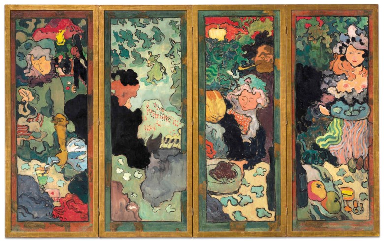 Armand Seguin (1869-1903), Les délices de la vie, painted circa 1892-1893. Four-panel screen (including frame) each 62⅞ x 25¼  in (159.8 x 64.1  cm). Sold for $7,737,500in The Collection of Peggy and David Rockefeller 19th and 20th Century Art, Evening Sale on 8 May at Christie's in New York