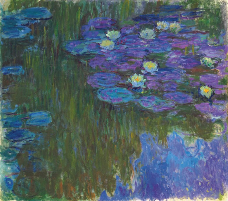 Claude Monet (1840-1926), Nymphéas en fleur, painted circa 1914-1917. 63 x 70⅞  in (160.3 x 180  cm). Estimate on request. This lot is offered in The Collection of David and Peggy Rockefeller 19th & 20th Century Art, Evening Sale on 8 May at Christie's in New York
