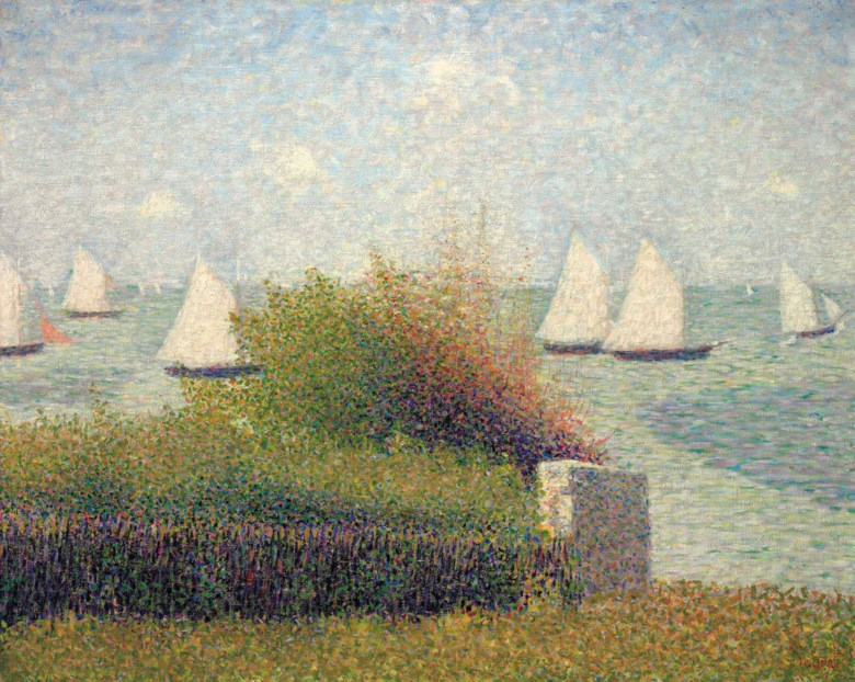 Georges Seurat (1859-1891), La rade de Grandcamp (Le port de Grandcamp), painted in summer 1885. Oil on canvas. 25¾ x 32 in (65.4 x 81.2 cm). Sold for $34,062,500in The Collection of Peggy and David Rockefeller 19th and 20th Century Art, Evening Sale on 8 May at Christie's in New York