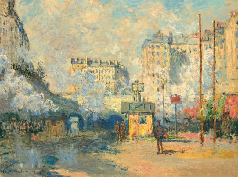 Claude Monet (1840-1926), Extérieur de la gare Saint-Lazare, effet de soleil, painted in Paris, 1877. 24⅛ x 31¾  in (61.3 x 80.7  cm). Sold for $32,937,500 on 8 May 2018 at Christies in New York