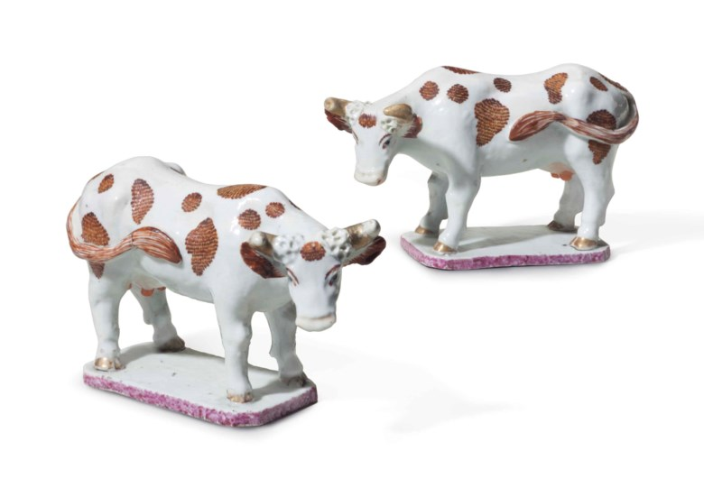 A pair of Chinese export porcelain cows, Qianlong period, mid-18th century. 5  in (12.7  cm) high. Estimate $10,000-15,000. This lot is offered in The Collection of David and Peggy Rockefeller English & European Furniture, Ceramics & Decorations, Part I on 9 May at Christie's in New York