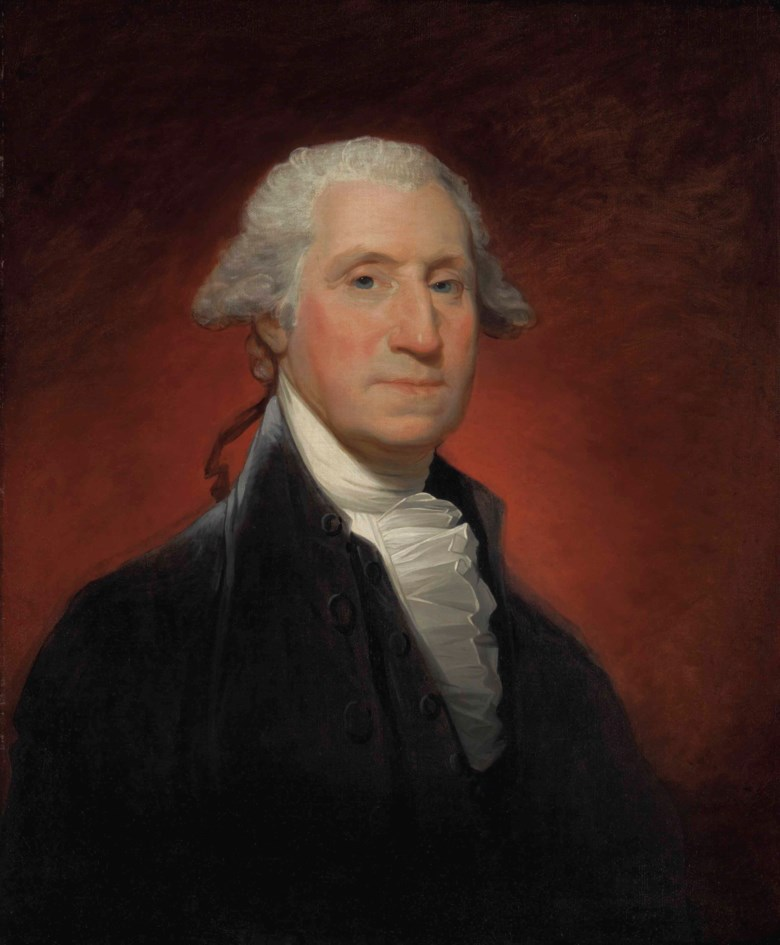 Gilbert Stuart (1755-1828), George Washington (Vaughan Type), painted in 1795. 29⅛ x 24⅛  in (74 x 61.3  cm). Sold for $11,562,500 in The Collection of Peggy and David Rockefeller Art of the Americas, Evening Sale on 9 May 2018 at Christie's in New York