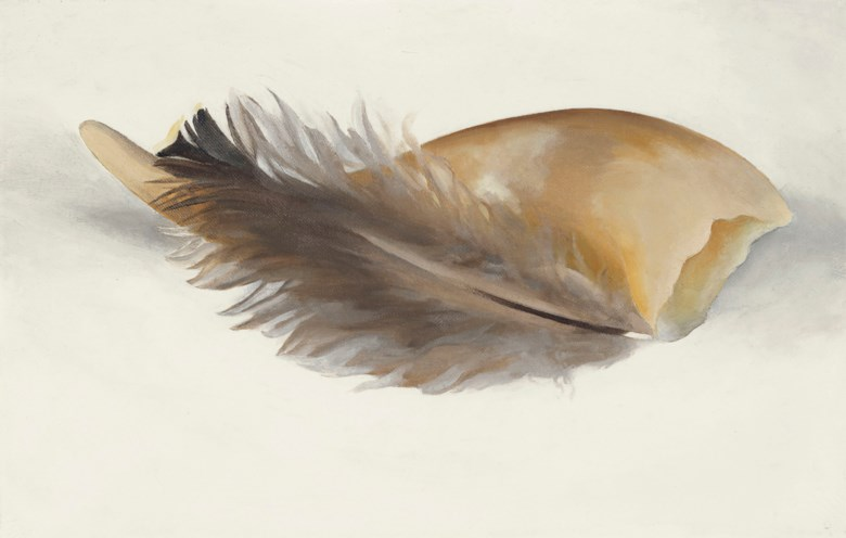 Georgia OKeeffe (1887-1986), Horn and Feather, painted in 1937. Oil on canvas. 9 x 14 in (22.9 x 35.6 cm). Sold for $612,500 on 13 November 2018 at Christie's in New York.© 2018 Georgia OKeeffe Museum  Artists Rights Society (ARS), New York