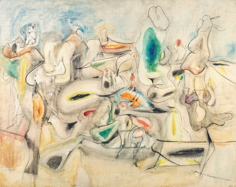 Bought by David Rockefeller in 1997Arshile Gorky (1904-1948), Good Afternoon, Mrs. Lincoln, 1944. Oil on canvas. 30⅛ x 38  in (76.5 x 96.5  cm). Sold for $14,037,500 on 13 November 2018 at Christie's in New York