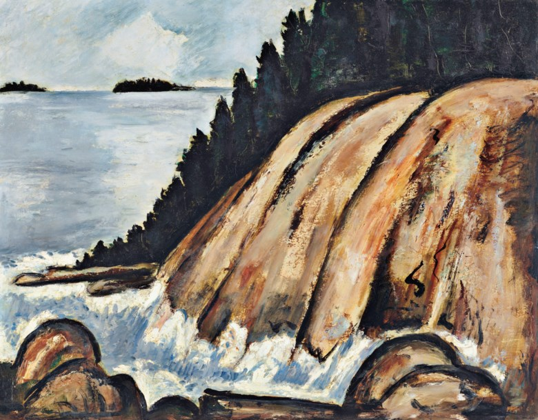 Marsden Hartley (1877-1943), Calm after Storm off Hurricane Island, Vinal Haven, Maine, painted in 1937-38. 22 x 28  in (55.9 x 71.1  cm). Sold for $1,572,500 on 13 November 2018 at Christie's in New York