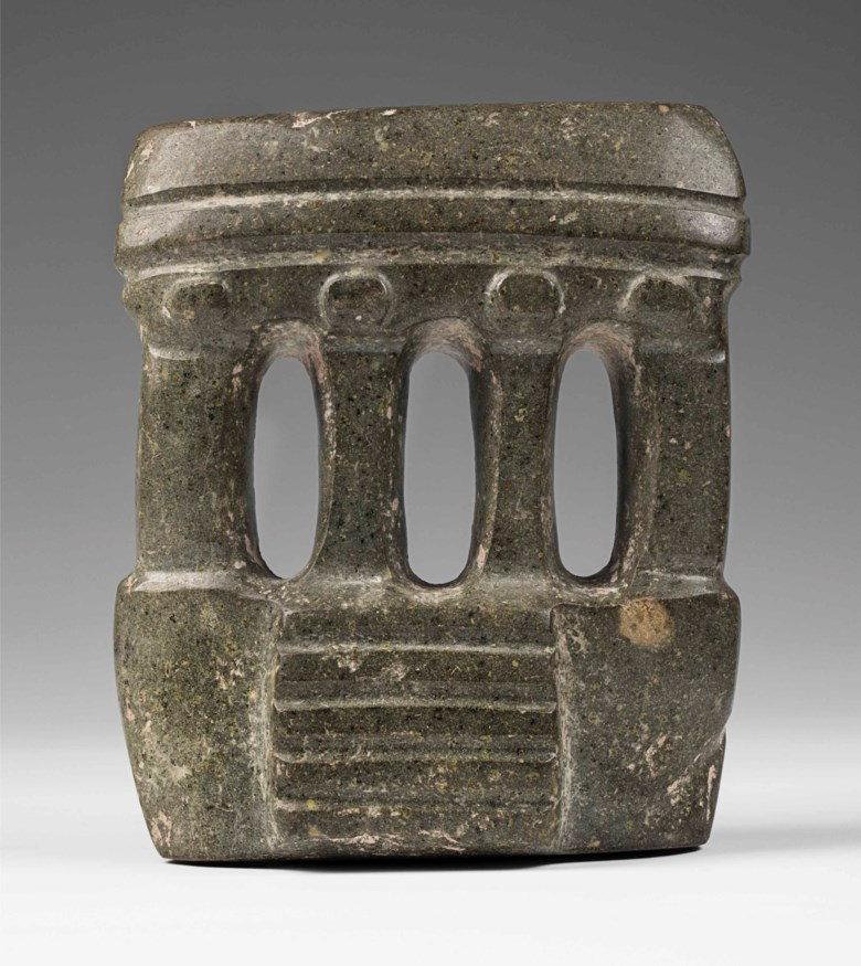 Mezcala temple, circa 300-100 BC.18  cm high (7  in). Estimate €30,000-50,000. This lot is offered in A Quantum of History The Prigogine Collectionon 9 April 2018  at Christie's in Paris