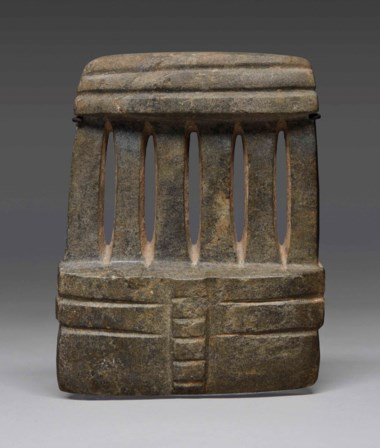 Imposing Mezcala stone temple model, Pre-Classic, circa 300-100 BC. Height 7½ in (19.2  cm). Sold for €37,500 on 9 April 2018  at Christie's in Paris