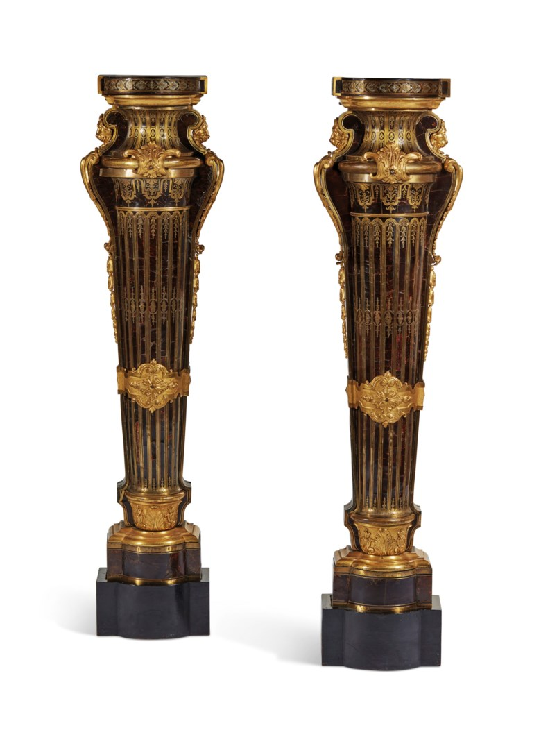 A pair of Louis XIV ormolu-mounted Boulle marquetry pedestals  by André-Charles Boulle, circa 1700. Height 129  cm (50¾  in). Sold for €727,500 on September 10 2018 at Christie's in Paris
