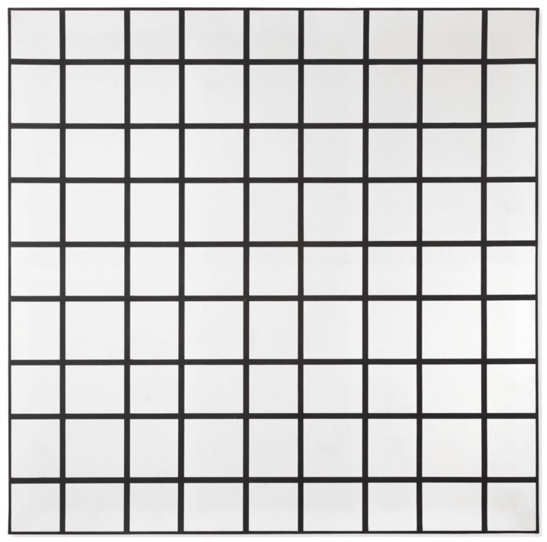 François Morellet (1926-2016), 2 Trames 0°, 90° (intervalles 14 cm et 17 cm), painted in 1972. Oil on canvas. 140 x 140 cm. Estimate €80,000-120,000. Offered in Post-War & Contemporary Arton30 April 2019 at Christie's in Amsterdam